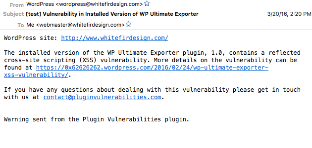 Plugin Vulnerabilities Email Alert