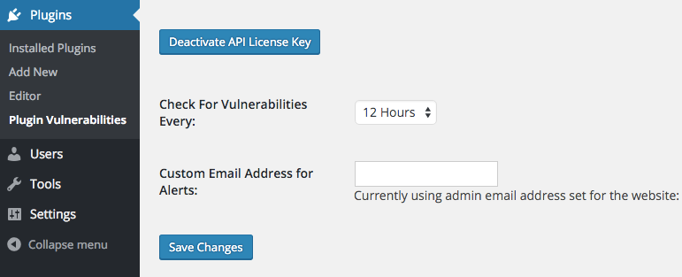 Plugin Vulnerabilities Settings