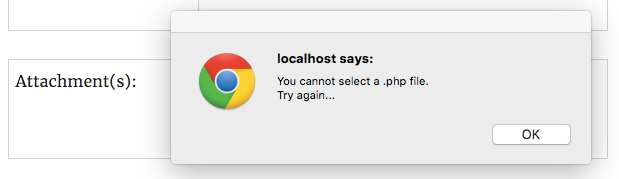 You cannot select a .php file. Try again...