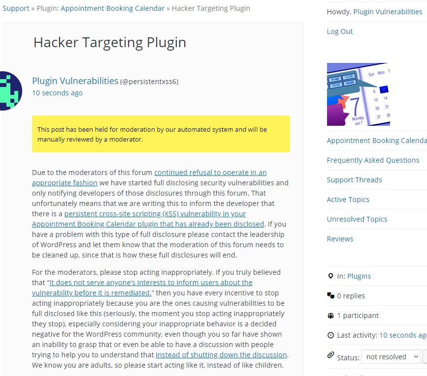 Hackers Look to Be Targeting the WordPress Plugin Appointment